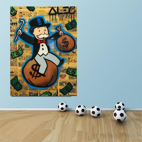 Alec Monopoly Graffiti Sitting on Money Bag with Cane Home Decor Handpainted &HD Print Oil Painting On Canvas Wall Art Canvas 200522