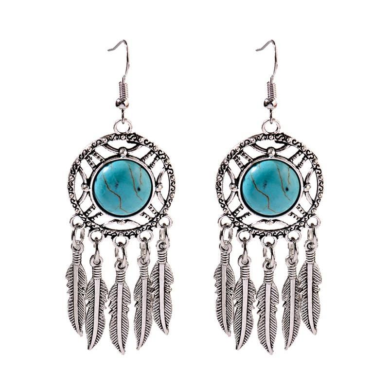 Ethnic Geometric Alloy Tassel Drop Earrings Women Jhumka Jhumki Vintage Blue Stone Ladies Dangle Earrings Oorbellen