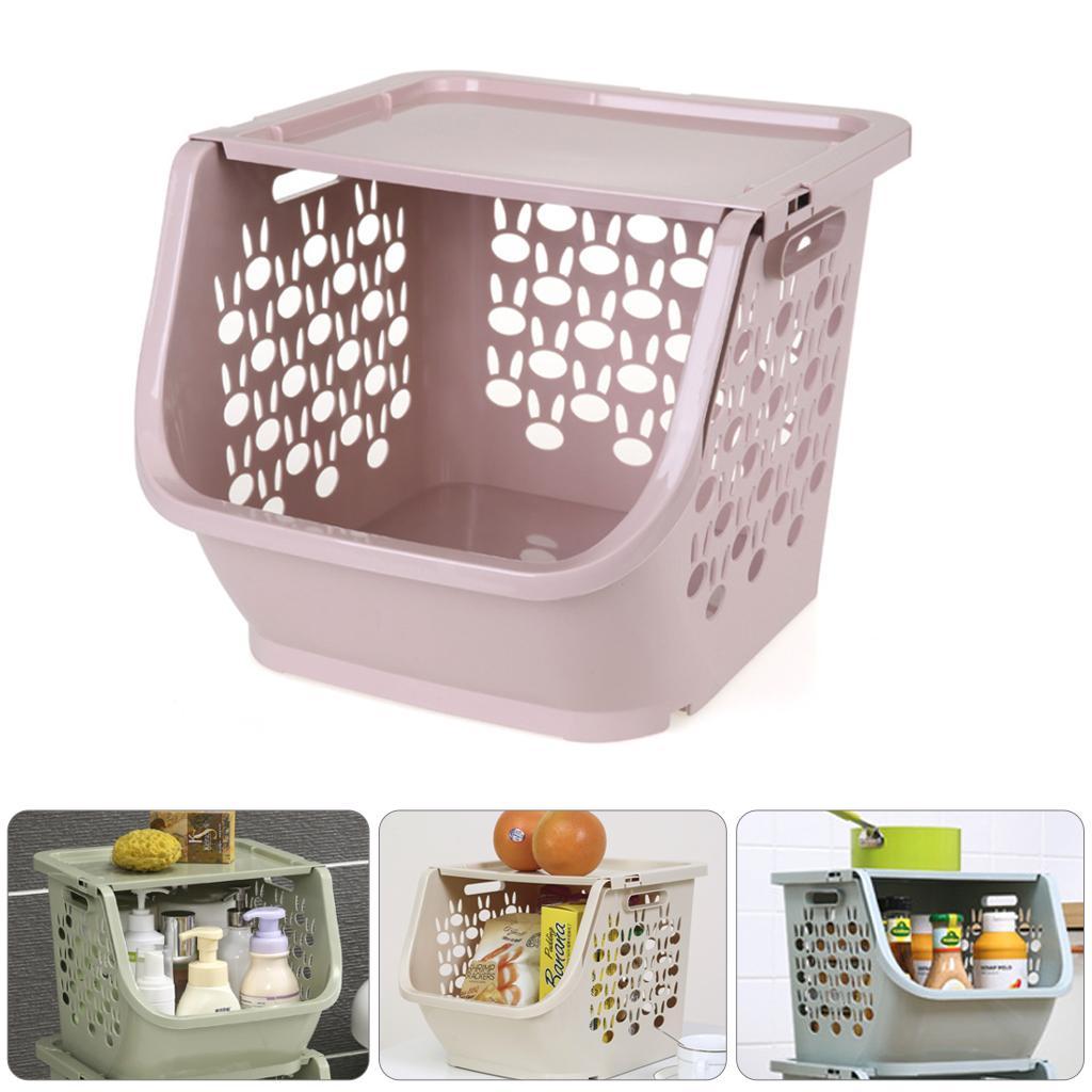 2019 Cozinha Cesta de armazenamento plástico multi-funcionais Legumes ocas Fruit Racks com tampa Cesta de armazenamento para os organizadores