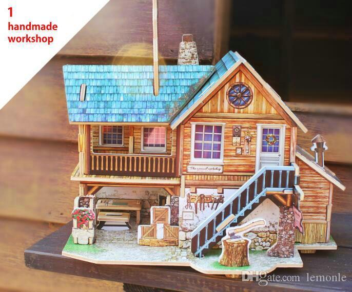 Hot Magic 3D Puzzle Kids Educational Toys DIY Wood Puzzles Jigsaw House Castle Famous Building
