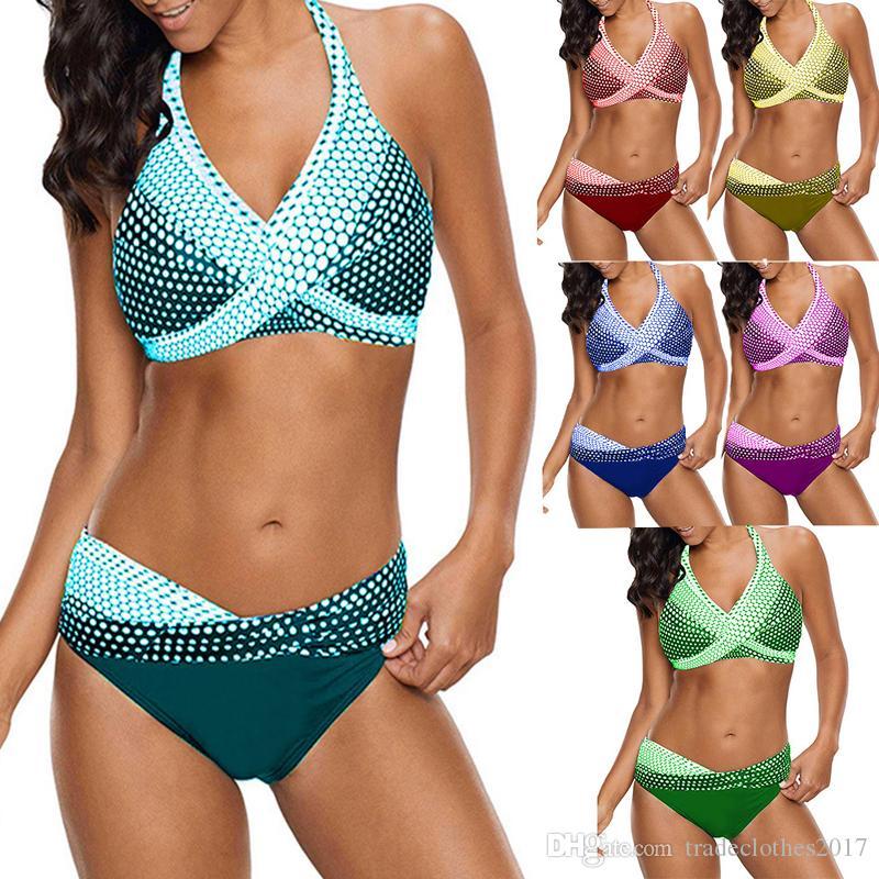Plus Size mulheres sexy 2 peças set Dots Impresso Moda Biquíni Natação Terno Ma'am Swimwear