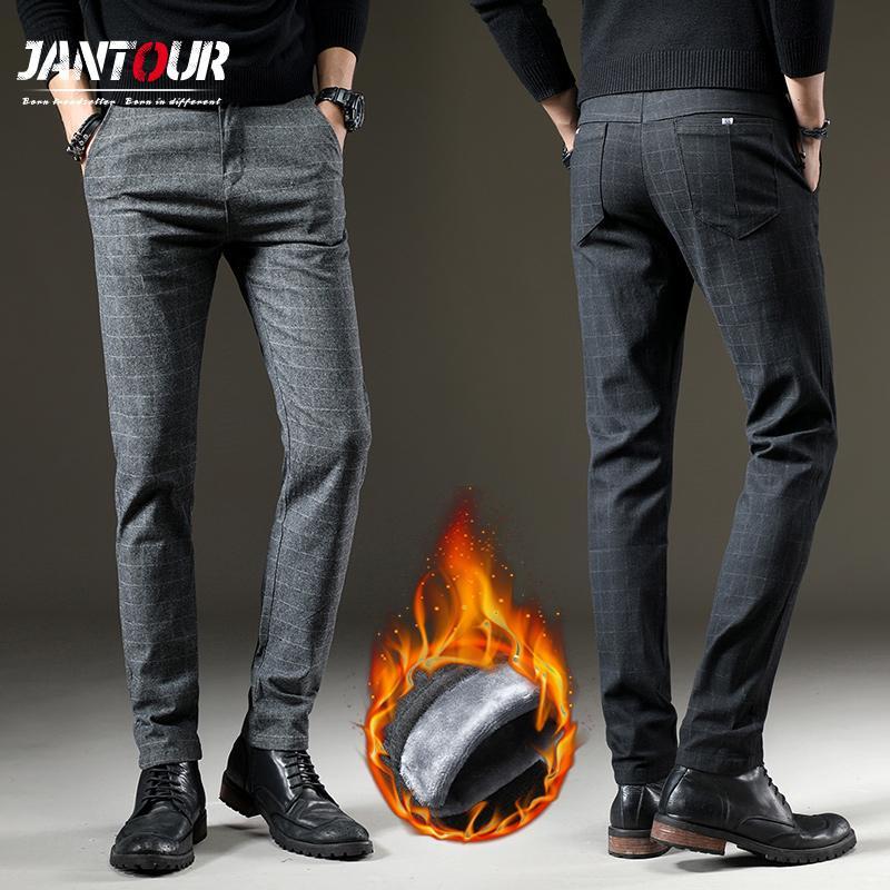 invernale Fleece Fluff addensare caldi degli uomini di marca pantaloni casual uomo d'affari Etero cotone elasticizzato spessa Plaid pantaloni grigi CJ191212 maschio