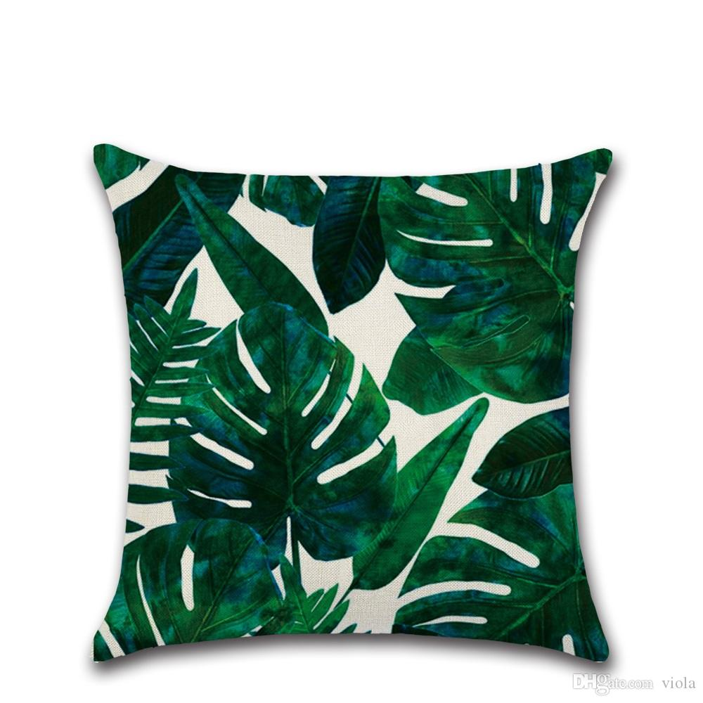 Hot Sale Tropical Plant Printed Cushion Cover Green Leaves Linen Pillow Case Chair Car Sofa Pillow Cover Home Decorative