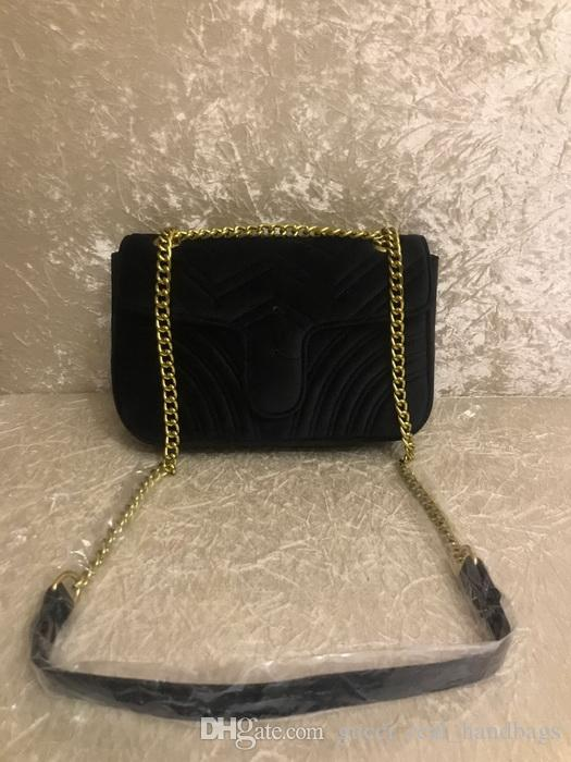2018 TOP Fashion black chain makeup bag famous party bag Marmont velvet shoulder bag Women Shoulder Bags Free shiopping #5118