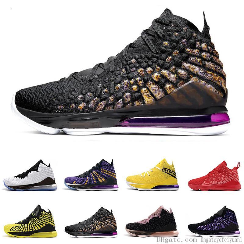 Hommes Chaussures de basket-17s Noir Blanc Violet Court Future Université Monnaie Jaune Rouge Bron 2k 17 Hommes Entraîneur respirant Chaussures de sport
