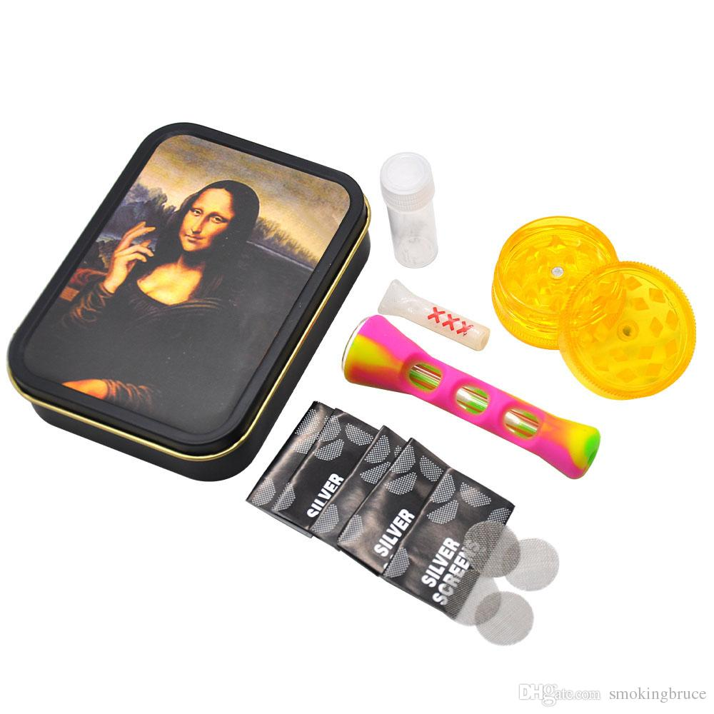 Tragbarer Tabakbeutel Set Kunststoff Rauchen Grinder Glasmund Filter Tip Rohre Silikon One Hitter Pfeife 5pcs Metallrohr-Bildschirm
