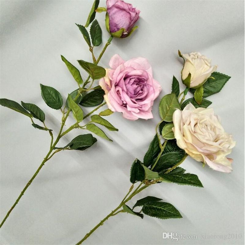 """Rose francesi finte a stelo lungo 29,53 """"rose di simulazione della pittura a olio di lunghezza per fiori artificiali decorativi per la casa di nozze"""
