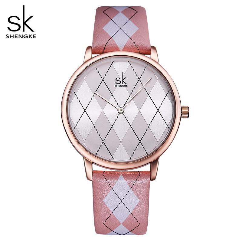 Shengke Frauen Watch Leder Relogiofeminino Vintage Plaid Armbanduhr Dame Lederuhr Mädchen Uhren Womans Reloj Mujer