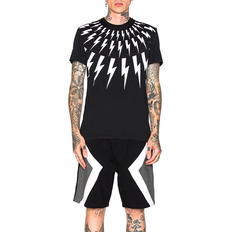Moda Erkek Stilist Tişörtlü Yaz Yeni Geliş Kısa Kollu Siyah Beyaz Mens Yüksek Kaliteli Pamuk Tees Boyut S-2XL yazdır GEOMETRİ