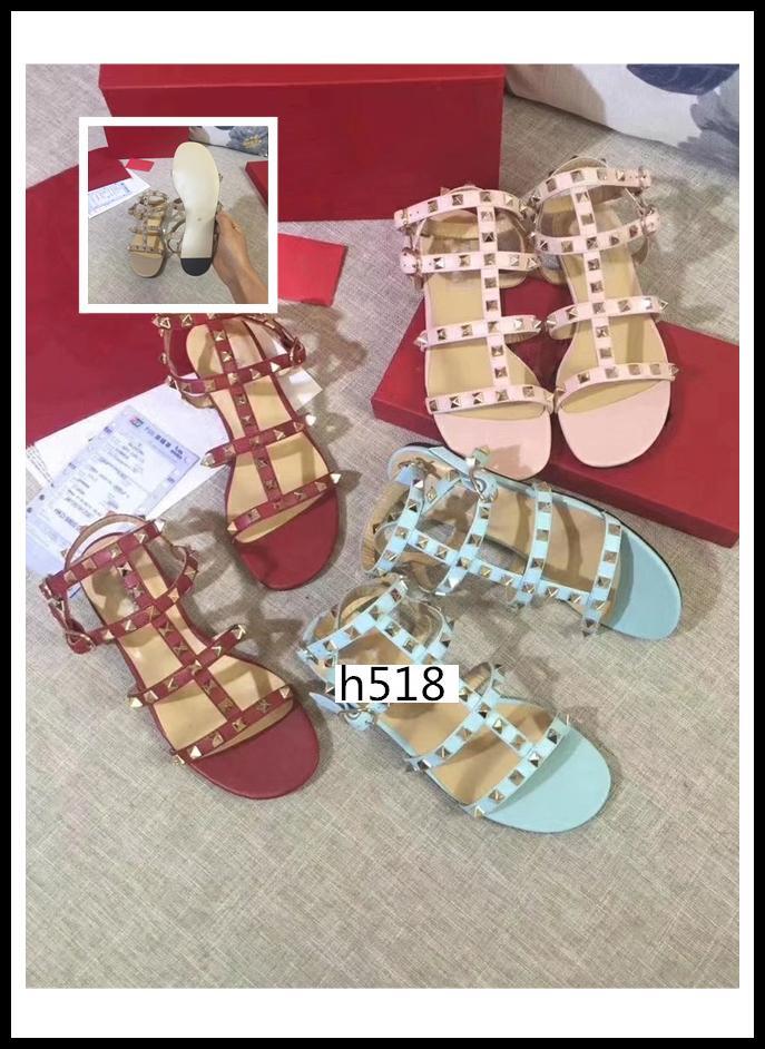 scatola originale stile di design Pelle Donna Stud Sandali con laccio dietro Rivetti moda scarpe 6 Colorssize 38
