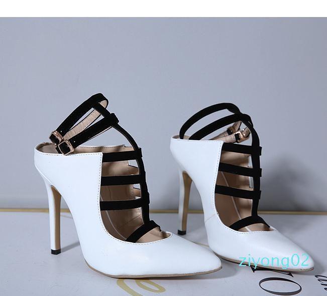 Sıcak yamalı siyah beyaz t bantlı sivri ayak yüksek topuklu ofis bayan iş ayakkabısı 12 cm boy pompalar 35-45 Z02