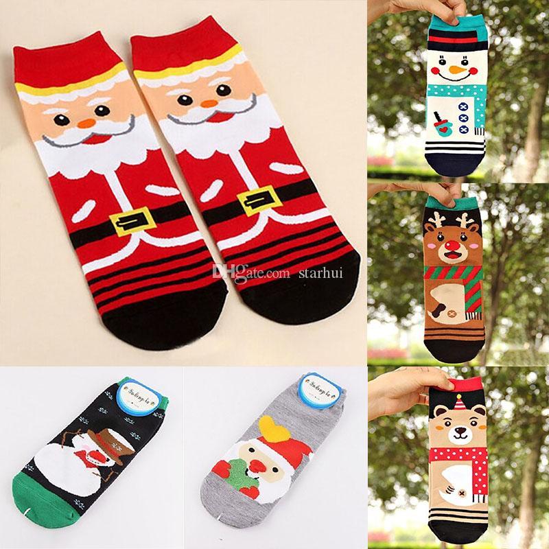 코튼 겨울 양말 크리스마스 여자 양말 산타 클로스 사슴 눈사람 곰 3D 인쇄 양말 선물 크리스마스 장식 무료 DHL WX9-1149
