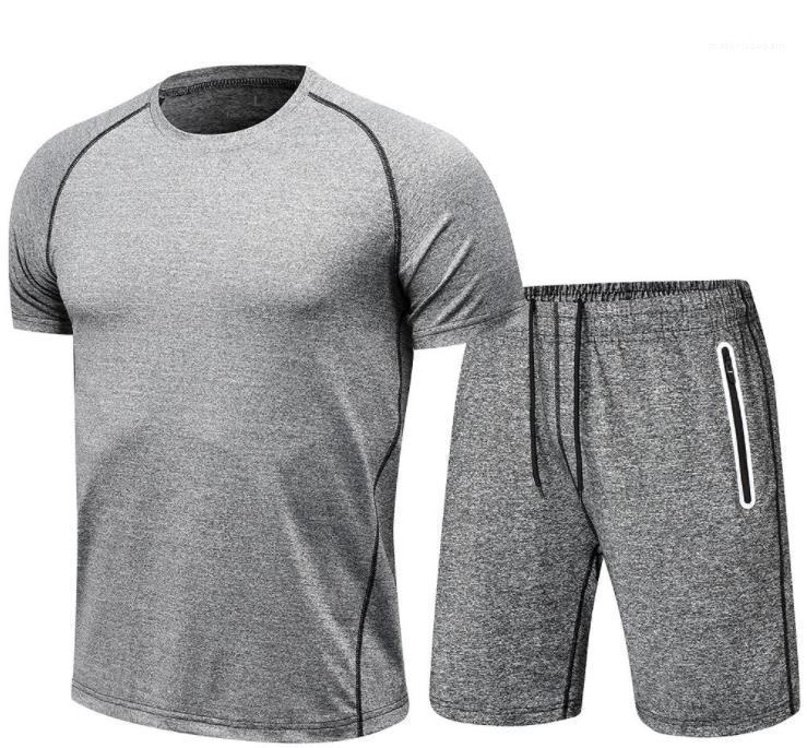 Art und Weise O-Ansatz T-Shorts 2pcs Gym Anzug Herrenkleidung Lauf Sets Sommer-Kurzschluss-Hülsen-Sport-Trainingsnazug
