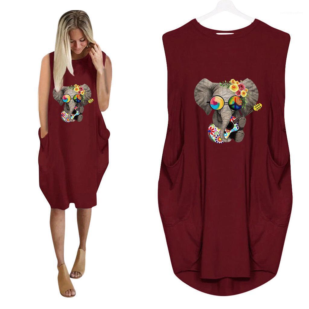 السيدات عارضة الازياء أنثى الملابس بالاضافة الى حجم فضفاض للمرأة مصمم التي شيرت فساتين 3D الفيل طباعة اللباس الصيف