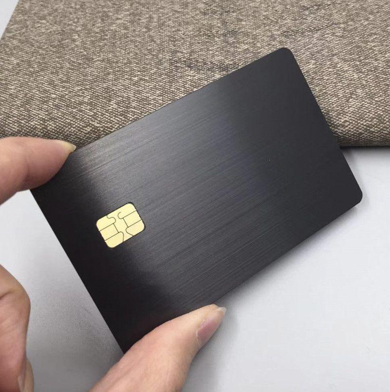 Tarjeta de metal VIP cepillada de acero inoxidable negro dorado plateado anodizado lujoso barato barato con chip 4428 o chip 4442