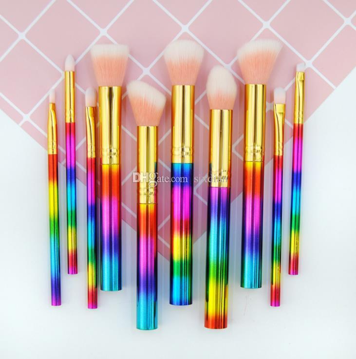 Glitter Make-up Pinsel Für Foundation Puder Lidschatten Eyeliner Lip Textmarker Kosmetik Pinsel Werkzeuge 10 stücke Bilden Pinsel Set