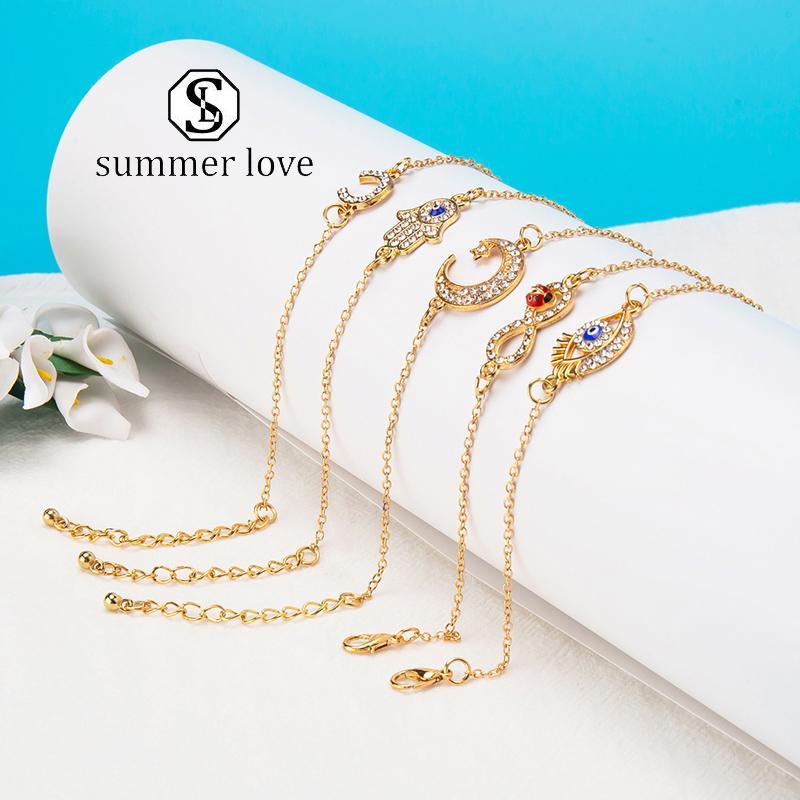 Neue Kristall Palm Eye Mond Strass-Armbänder für Frauen-Art- und Gold-Silber-Kettenarmband justierbare Design Klassische Partei Schmuck-Geschenk-Y