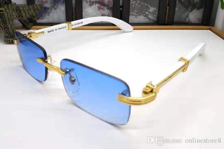 الترف الأبيض بافالو القرن خشبي نظارات رجل إمرأة نظارات شمس فرنسا مصمم أزياء كلاسيكية بدون إطار إطار عصري نظارات مع هلالية صندوق