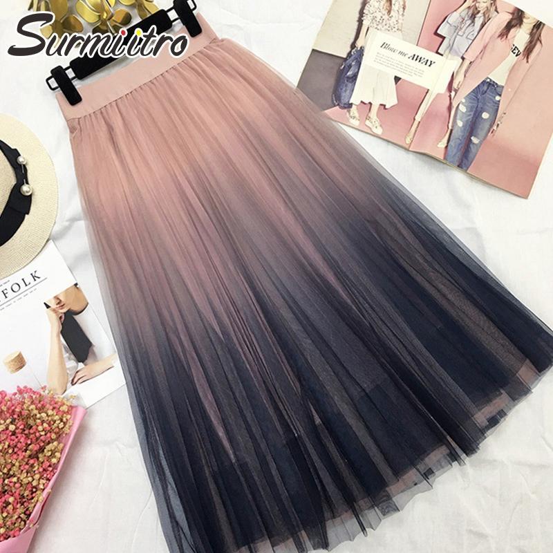 Surmiitro Long Tulles Women's Clothing Skirt Women 2020 Spring Summer Gradient Korean Elegant High Waist A-line Pleated School Midi Skirt Fe