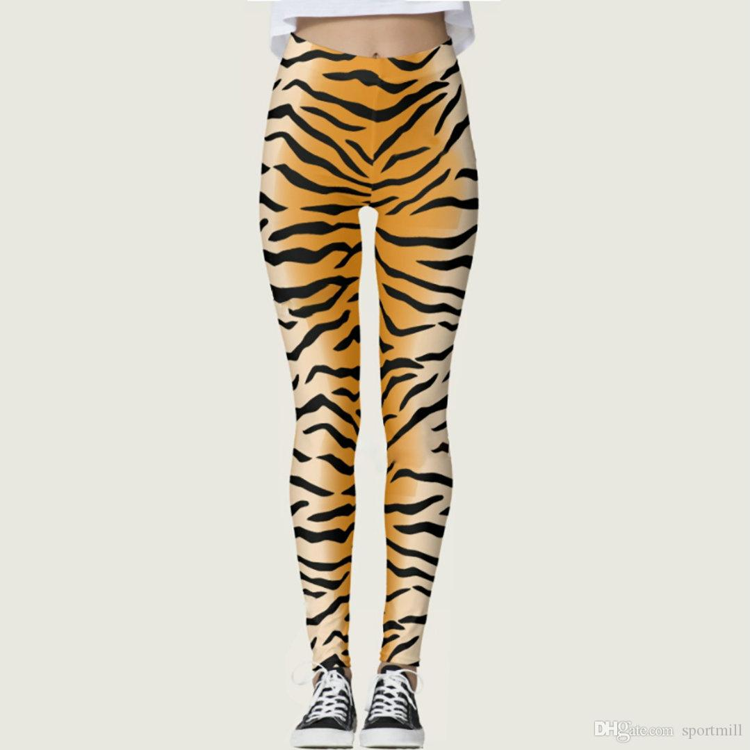 Skin pants Tiger stripes tight skinny Sexy show bight elastic fastness gym woman clothing Sport wear Fitness sportwear Exercise trousers