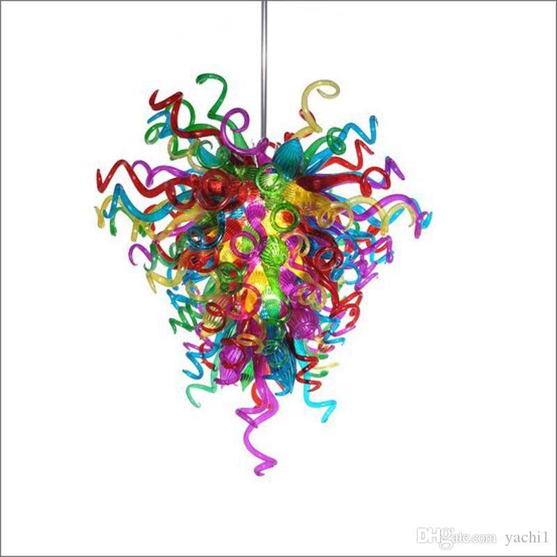 아트 데코 조명 손 거실 장식에 대한 유리 천장 치 후리 스타일 다채로운 무라노 유리 작은 저렴한 펜던트 램프 풍선