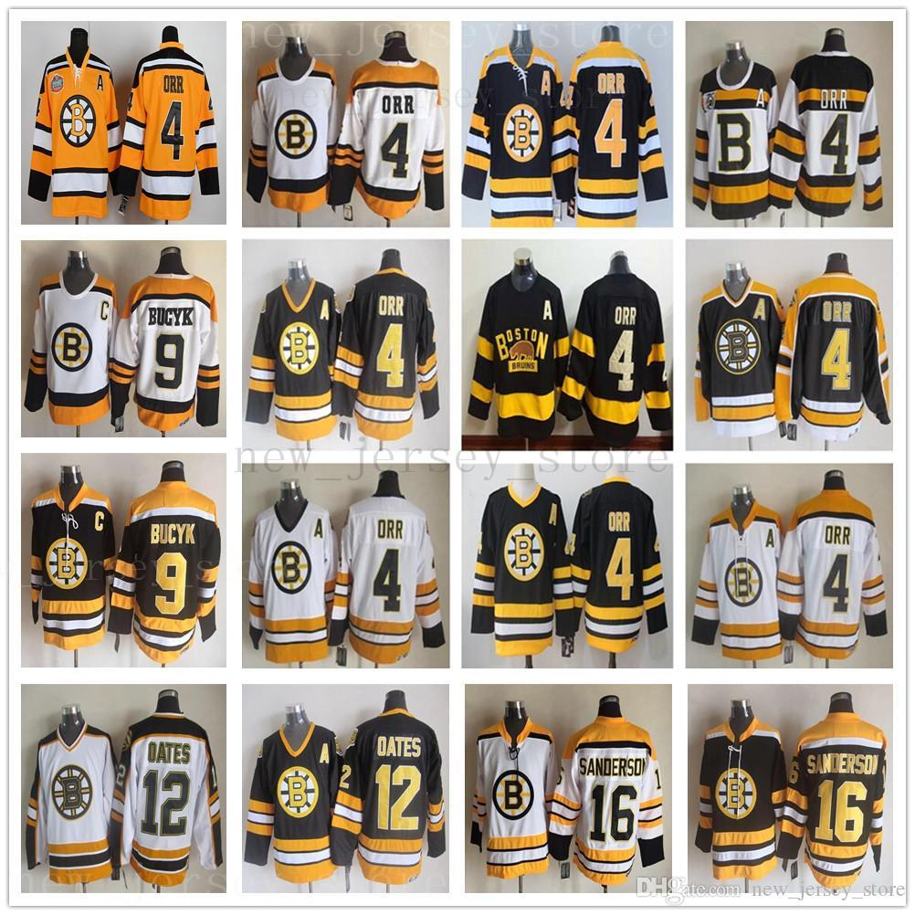 Vintage CCM 75th Boston Bruins 4 Bobby Orr Jersey costurado 9 Johnny Bucyk 12 Adam Oates 16 Derek Sanderson jerseys para homem hóquei