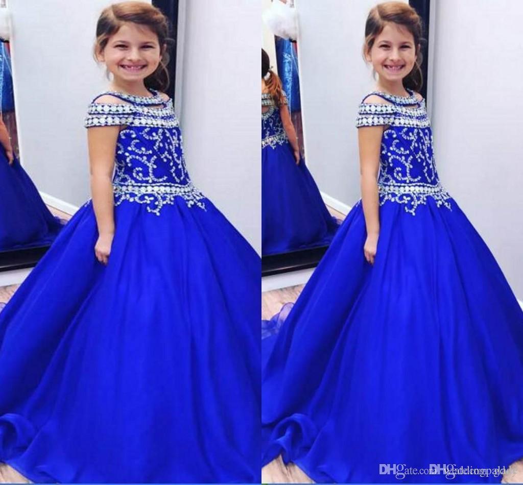 Wedding Organza Royal Blue Flower Girl Dress Pageant Graduation Ceremony Party