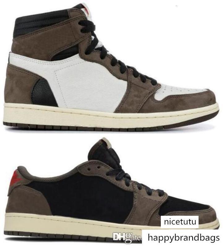 Com Caixa Suede melhor qualidade OG Travis Scotts Cactus Jack escuro Mocha TS SP tênis de basquete Homens Mulheres 1s Baixa Sneakers
