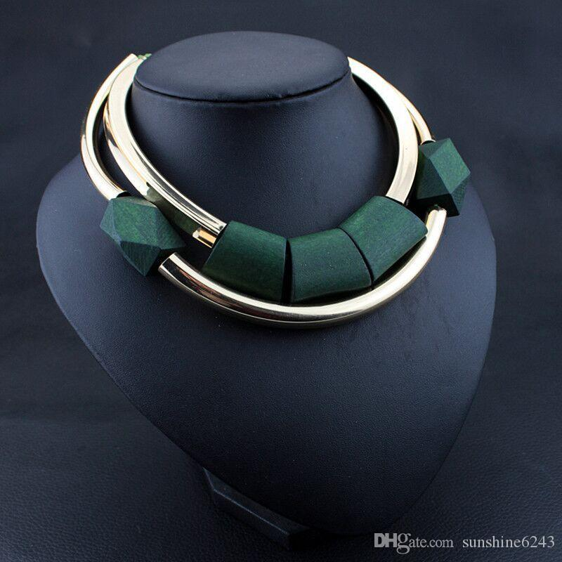 Vintage Ahşap Boncuk kolye kolye Kadınlar Moda Yeşil Siyah gerdanlık Salkım Amerikan takı klavikula zincir kazak zinciri