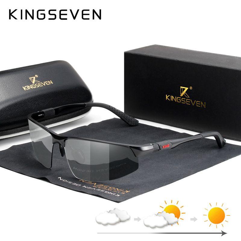 KINGSEVEN 2019 Polarized Sunglasses Men Polarized Chameleon Glasses for Day Night Driving Anti-glare Eyewear Gafas