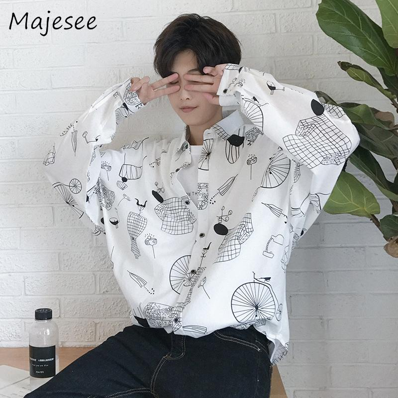 Mens Fashion Summer Long Sleeve Printed Shirt Youth Loose Thin Shirt Tops Yellow