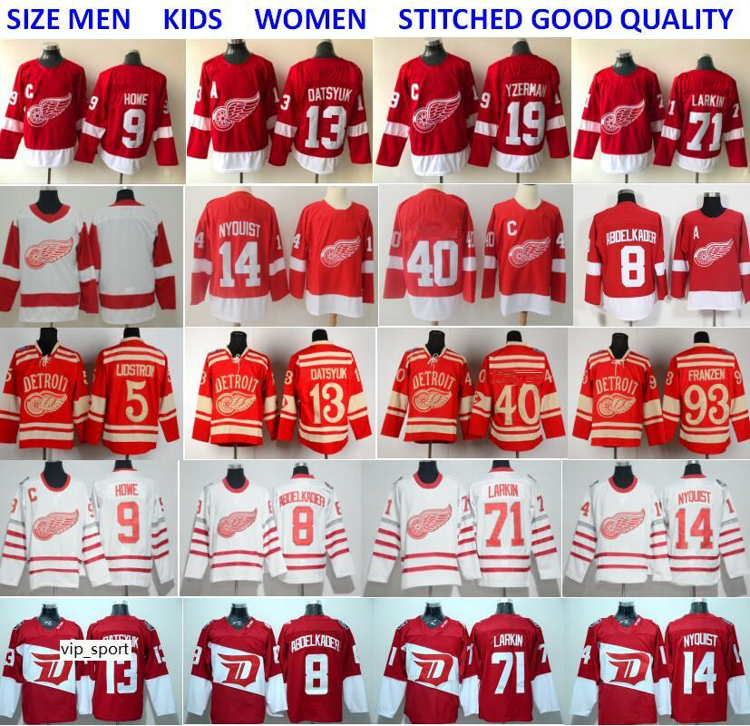 Detroit Red Wings Maglie Hockey 13 Pavel Datsyuk 40 Henrik 8 Justin Abdelkader 19 Steve Yzerman 71 Larkin 91 Sergei Fedorov Howe Red