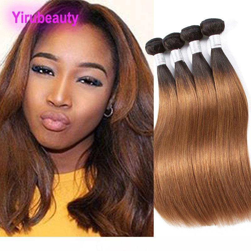 B indiano virgem Extensões de cabelo humano 1b 30 reta de seda do cabelo tramas 3 Pacotes 1b 30 Ombre produtos de cabelo Ruyibeauty