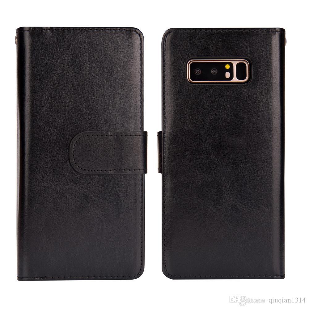 삼성 S8 S9 S10 플러스 주 8 주 9 S7 에지 지갑 케이스 자기 이동식 카드 포켓 보호 케이스를위한 가죽 플립 커버