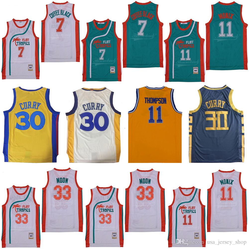 2019 Flint Tropics Semi-Pro 33 Jackie Moon 11 Ed Monix Coffee Stephen 30 Curry Klay 11 Thompson Баскетбол