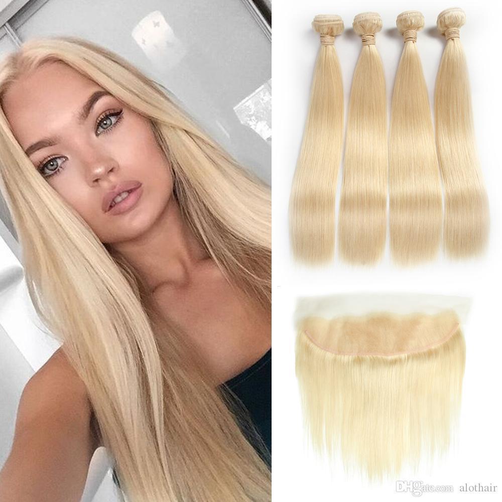 Rubio Color de mechones de cabello # 613 Oído al oído 13x4 Cierre frontal de encaje con 4 paquetes brasileña virginal del pelo humano teje extensiones rubias