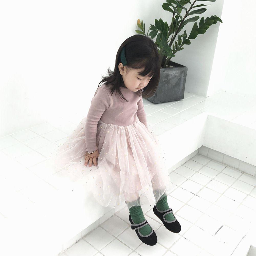 Princesa de Corea versión de los nuevos niños niñas Pentagram Manga larga vestido de la niña de ropa para niños vestidos para niñas Y200317