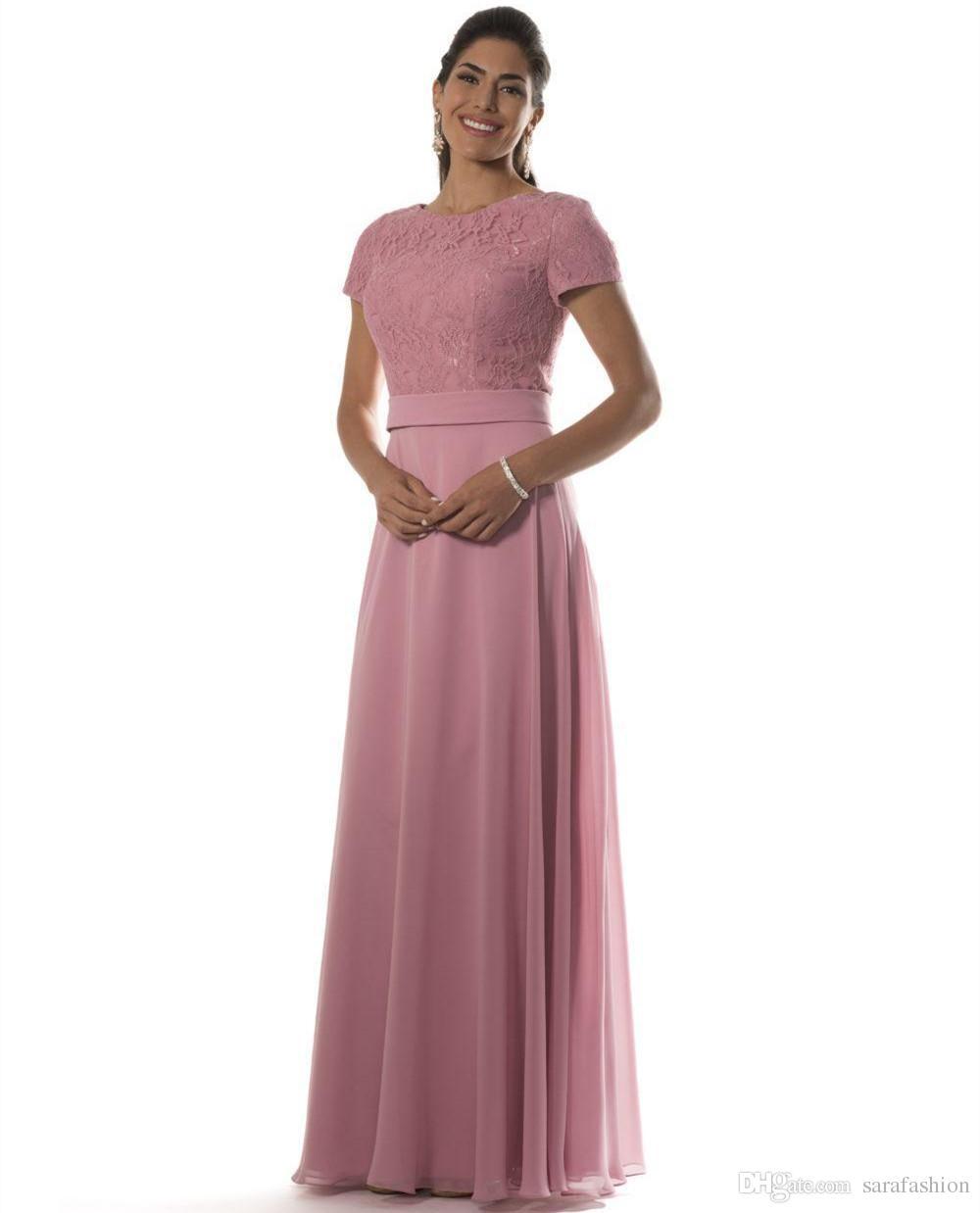 Compre Blush Pink Vestidos Largos De Dama De Honor Con Mangas Cortas 2019 Blusa De Encaje Chifón Vestidos De Noche Formales Vestidos De Damas De Honor