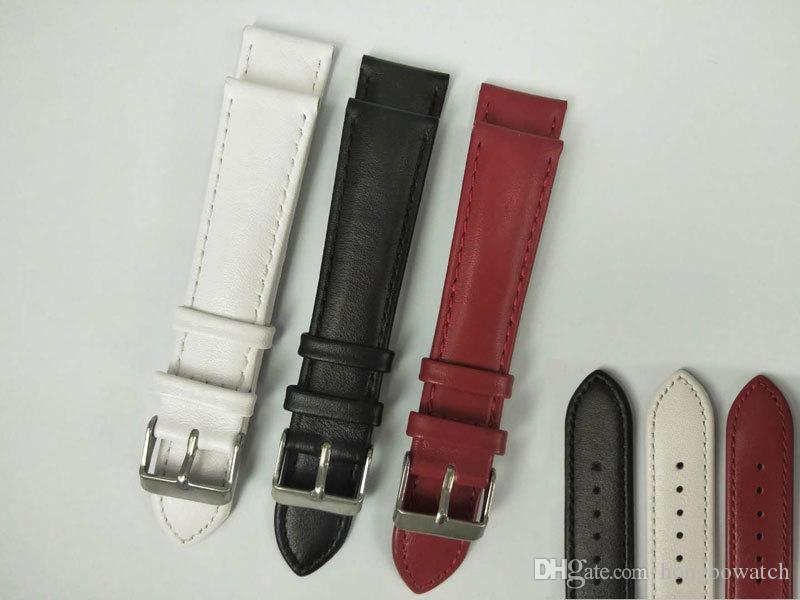 Leather strap calfskin plain watch strap accessories unisex 16-20mm