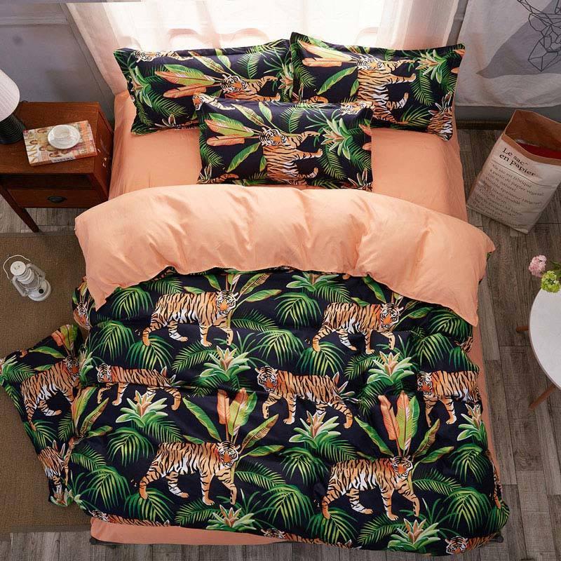 Jungle Tiger 4pcs Girl Boy Kid Bed Cover Set Duvet Cover Adult Child Bed Sheets And Pillowcases Comforter Bedding Set 2TJ-61021