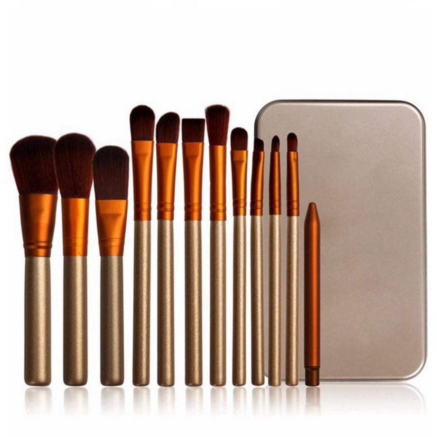Деревянная ручка макияж кисти набор основа подводка для глаз Тени для век кисти комплект косметический макияж инструменты с коробкой 12 шт. / компл. RRA780