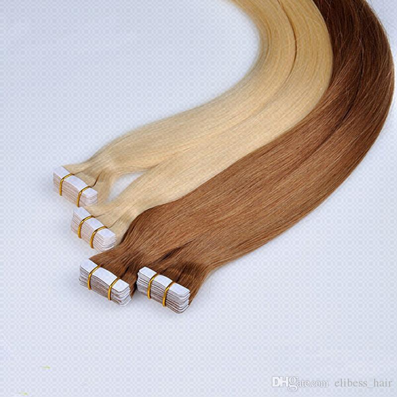 Лучший 20г класса качества / шт 80г 40шт Клей Кожа Утки PU лента в человеческих волосах 16 18 20 22 24inch бразильские Индийские волосы