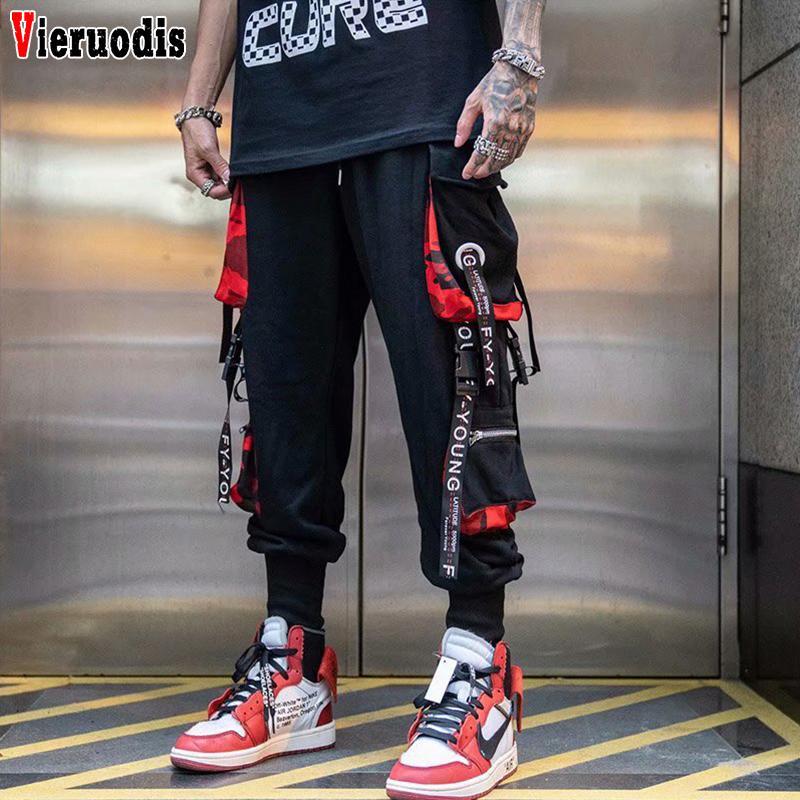 Hombres Moda elástico de la cintura de Hip Hop Streetwear hombres casual pantalón Joggers nueve pantalones Bloque Hit pista del bolsillo del color de los pantalones