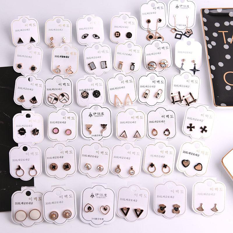 여성 소녀를위한 패션 디자이너 여성 귀걸이 한국어 스타일의 매력 귀걸이로 돌아 가기 스터드 Earings 럭셔리 크리스탈 다이아몬드 진주 귀걸이