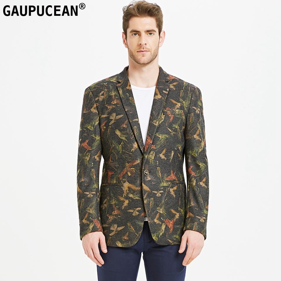 Facile d'entretien Wearproof Slim Mode 3D Oiseaux Imprimé Homme Costume Veste Qualité Homme Casual Printemps Un Bouton Vert Vintage Hommes Blazer