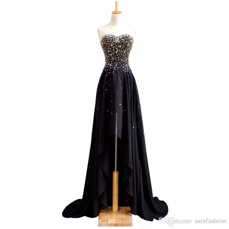 Frisado Chiffon Alta Baixa Prom Vestidos 2019 Preto Long Prom Vestidos Lace Up Formal Dress Elegante