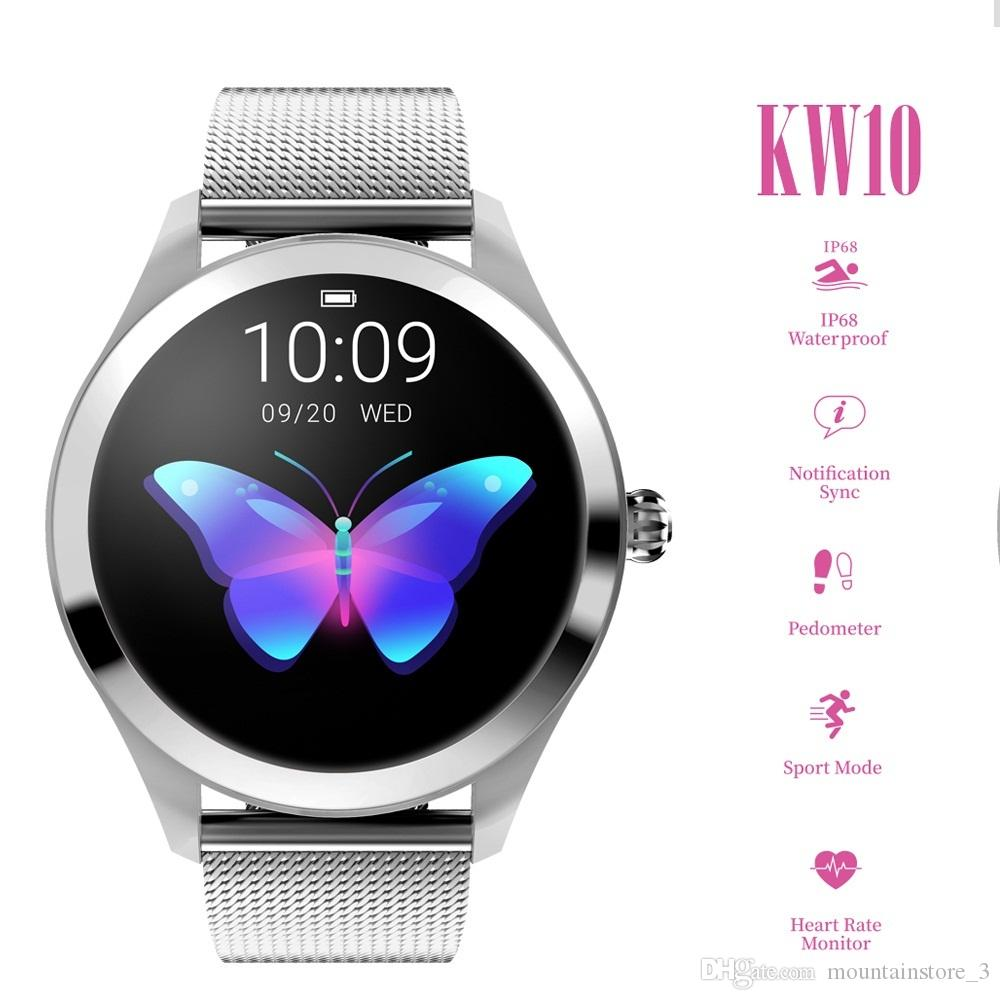 KW10 Smart Watch Women 2019 IP68 Waterproof Heart Rate Monitoring Bluetooth For Android IOS Fitness Bracelet Smartwatch (Retail)