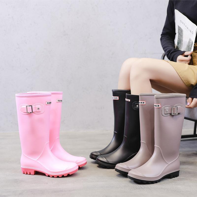 YEELOCA Fashion Rainboots Women Knee-High Water Boots Buckle Long Tube High-grade Waterproof Shoes Womens Rubber PVC Rain Boots LY191224