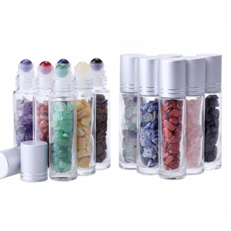 Oil Difusor Essencial 10ml rolo de vidro transparente em frascos de perfume com Esmagado Natural de cristal de quartzo de pedra, cristal Roller Ball prata RRA2897