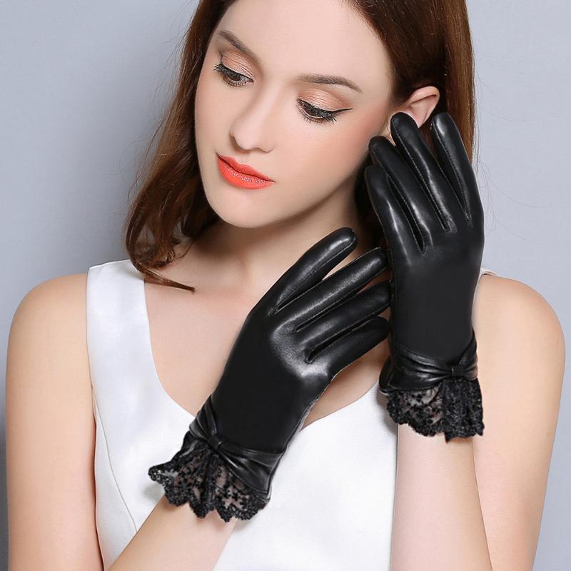 قفازات جلدية حقيقية المرأة الشتاء زائد المخملية قفازات رشاقته الأزياء المعصم الأسود الرباط القيادة لمس جلد الغنم F8008